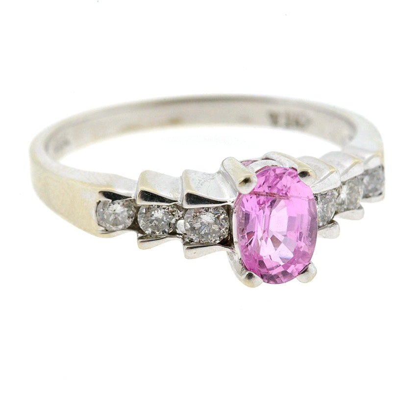 14k white gold pink sapphire and ring ebth