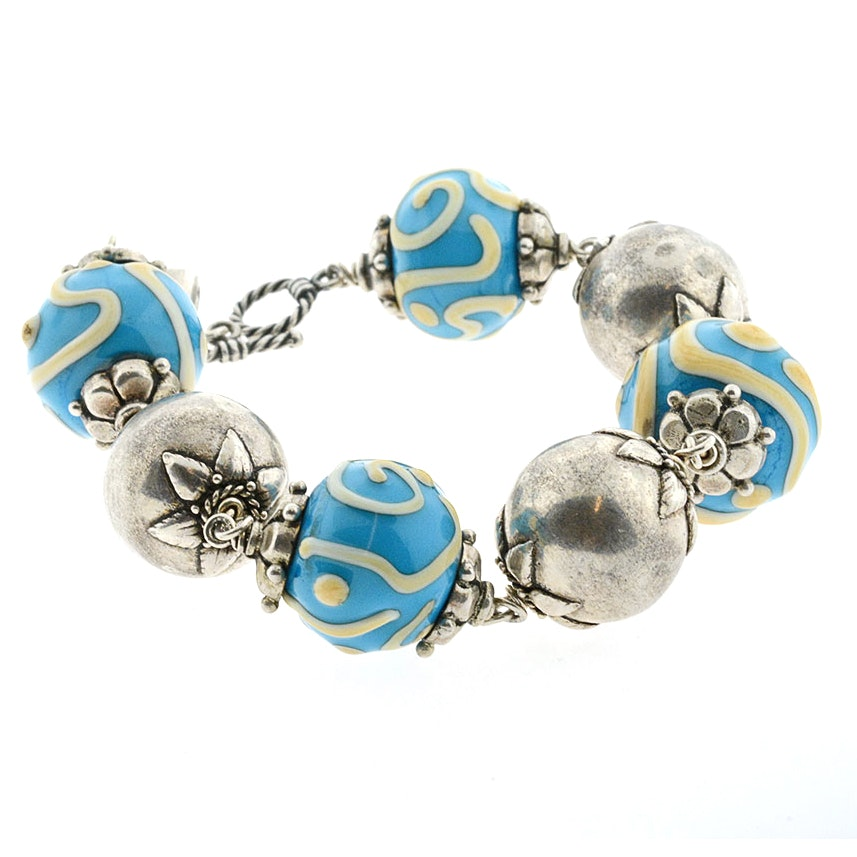 Sterling Silver Artisan Made Enameled Bead Bracelet