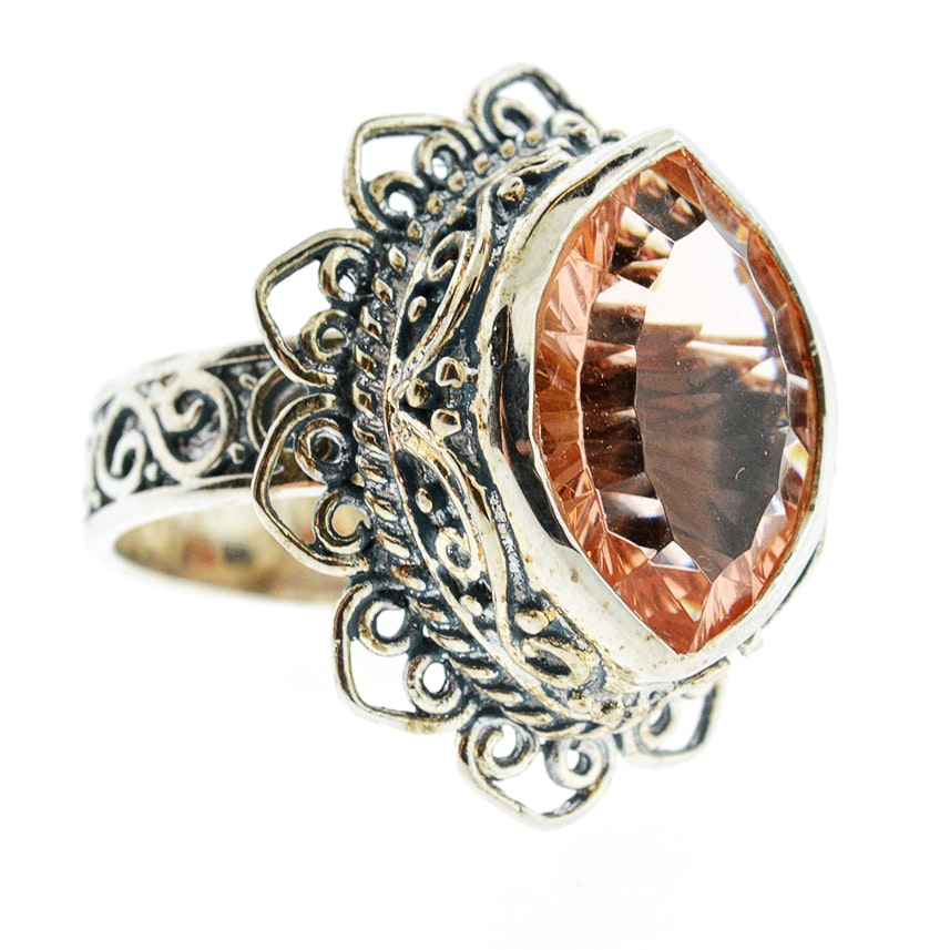 Art Nouveau Style Sterling Silver Pink Glass Ring