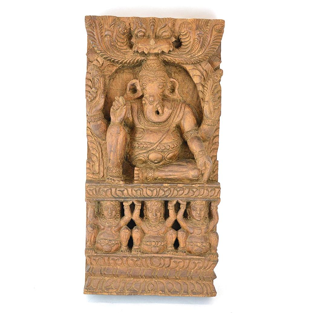 Wooden Ganesha Carving