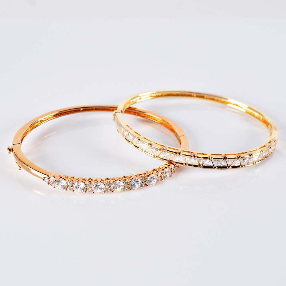 Gold over Sterling Silver Cubic Zirconia Bangle Bracelets