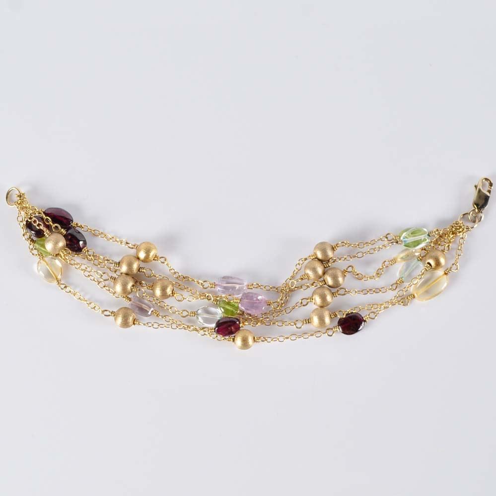 Sterling Silver Multi-strand Tumbled Stone Bracelet