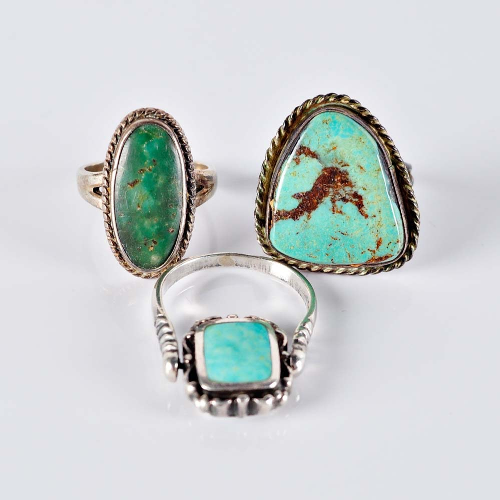 Southwestern Syle Silver and Turquoise Rings