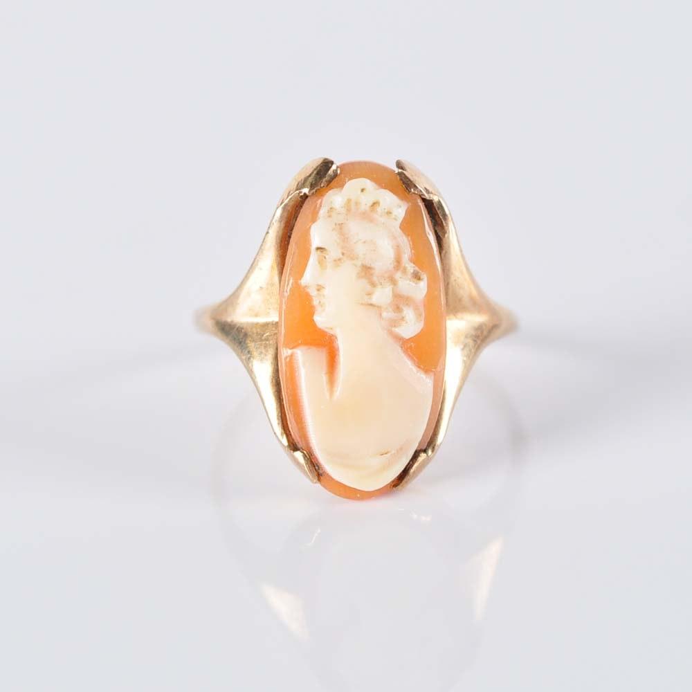 10K Shell Cameo Ring
