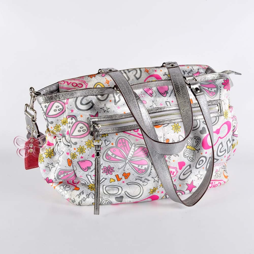 Coach Poppy Graffiti Butterfly Tote