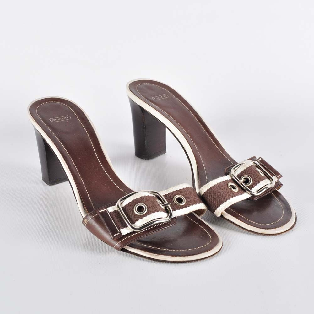 Coach Leather and Canvas High Heel Slides