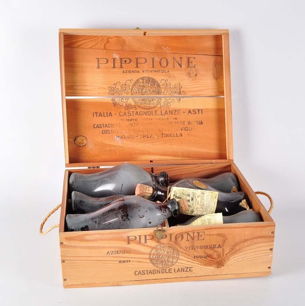 Pippione Crate of Vintage Italian 1970 Barolo Wine Bottles