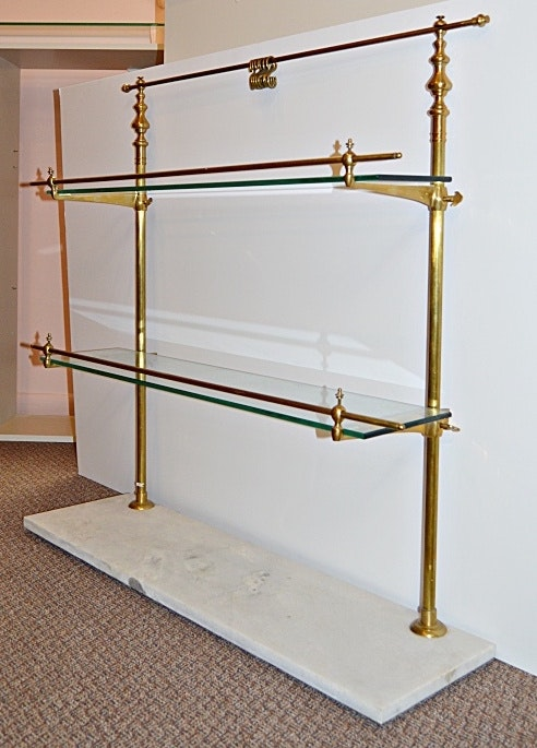 Vintage Marble And Brass Display Rack With Glass Shelves