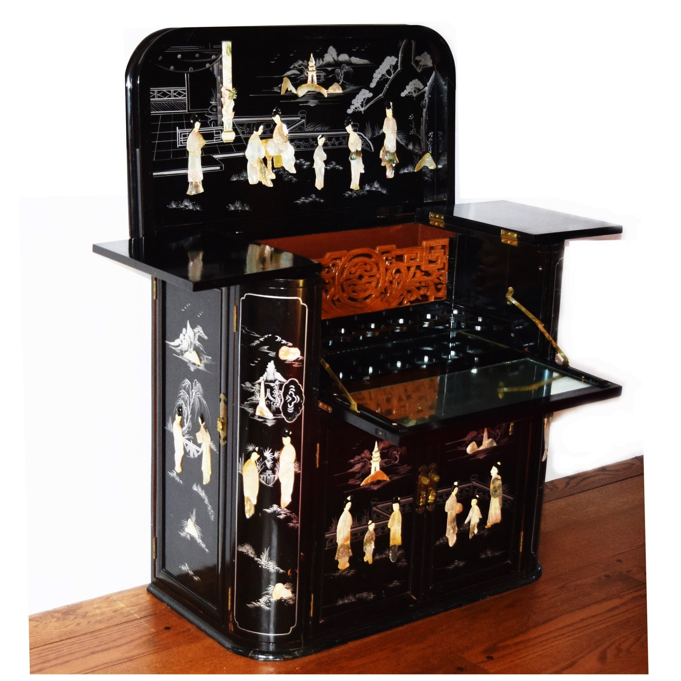 Vintage Chinese Black Lacquer Bar With Mother Of Pearl Courtesans ...