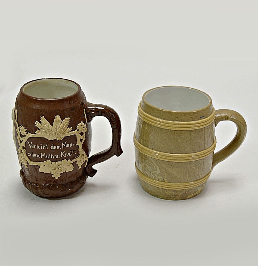pair of early 1900s villeroy boch mettlach beer steins ebth. Black Bedroom Furniture Sets. Home Design Ideas