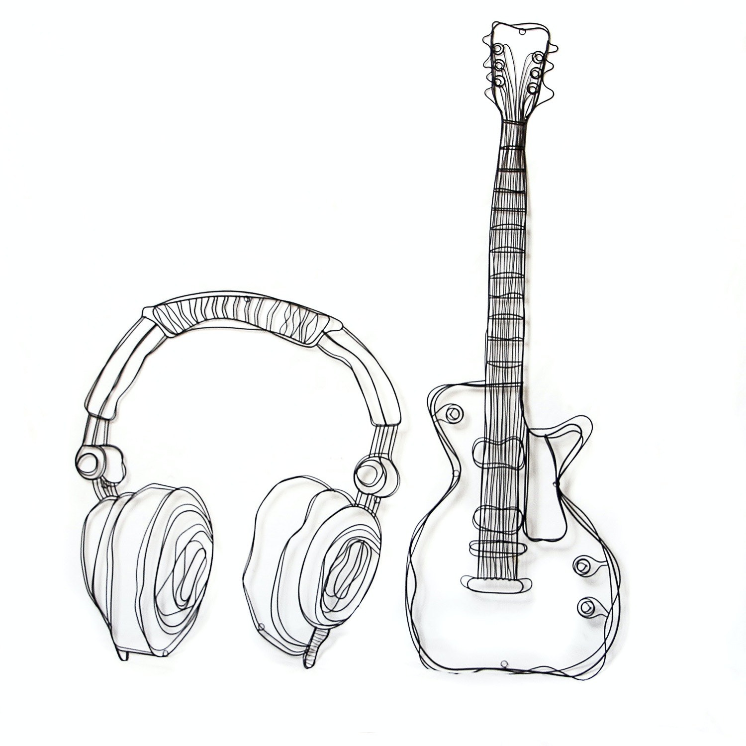 Pair of Wire Musical Wall Sculptures