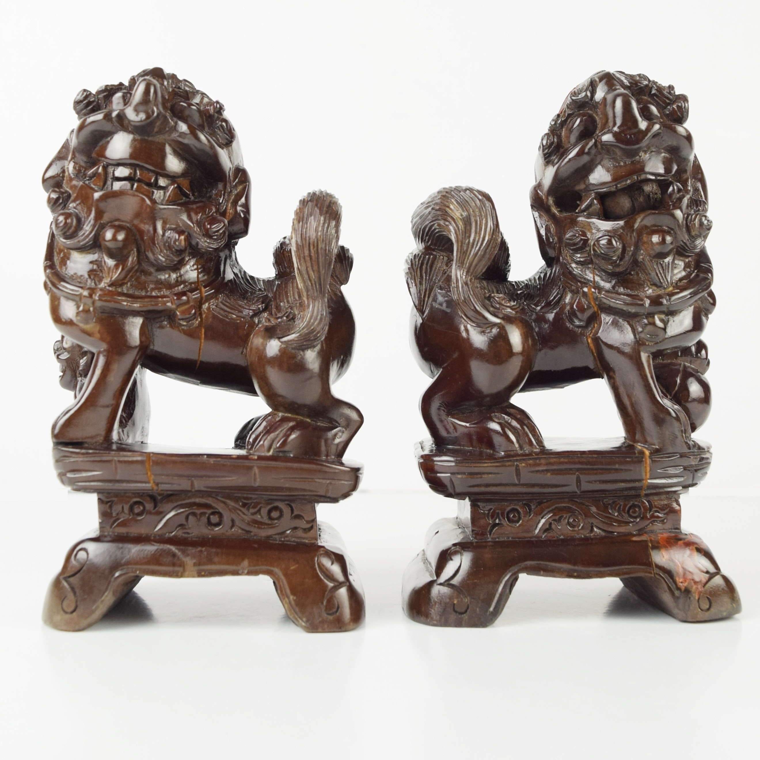Pair of Lacquered Wood Chinese Guardian Lions