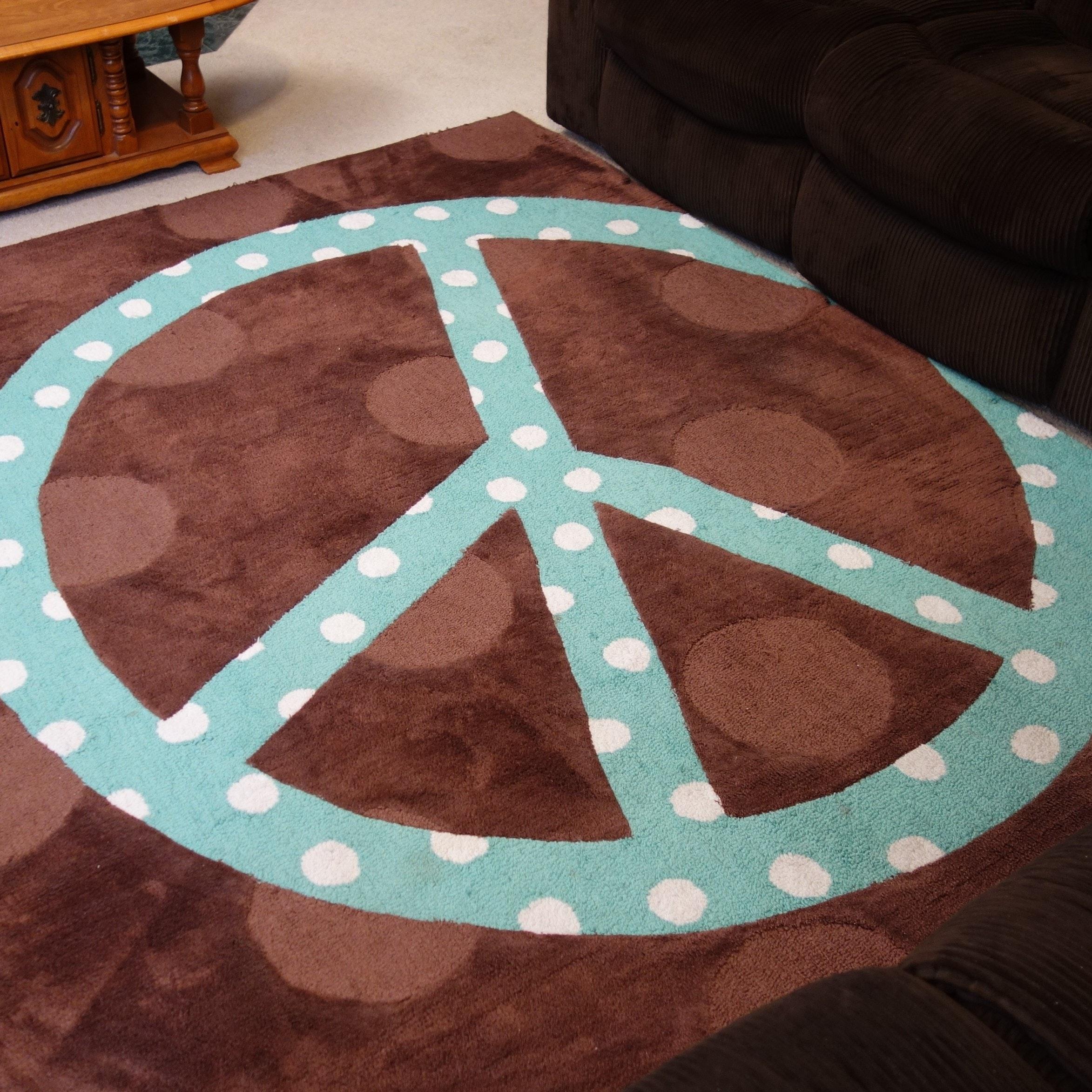 Contemporary Peace Sign Area Rug ...