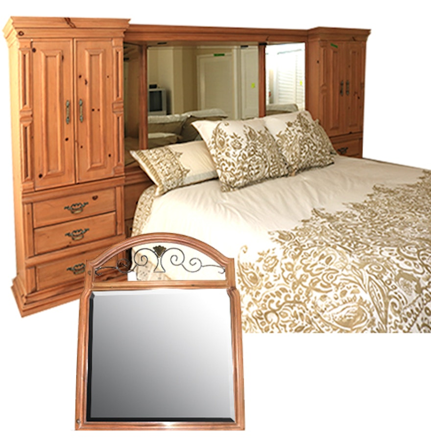 king size boyd storage headboard bed frame and vanity mirror ebth. Black Bedroom Furniture Sets. Home Design Ideas