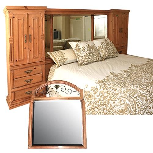King Size Boyd Storage Headboard, Bed Frame, And Vanity Mirror ...