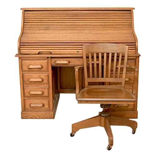 Oak Laminate Roll Top Desk And Chair Ebth