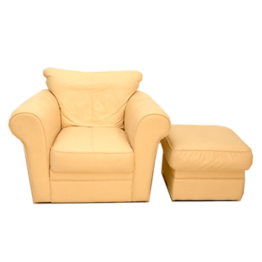 Off White Leather Chair And Ottoman Pair