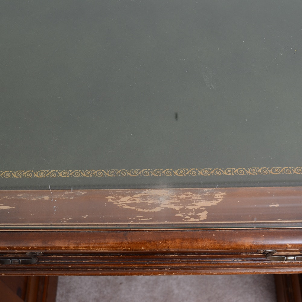 Vintage Executive Desk With Leather Top By Sligh Lowry Ebth