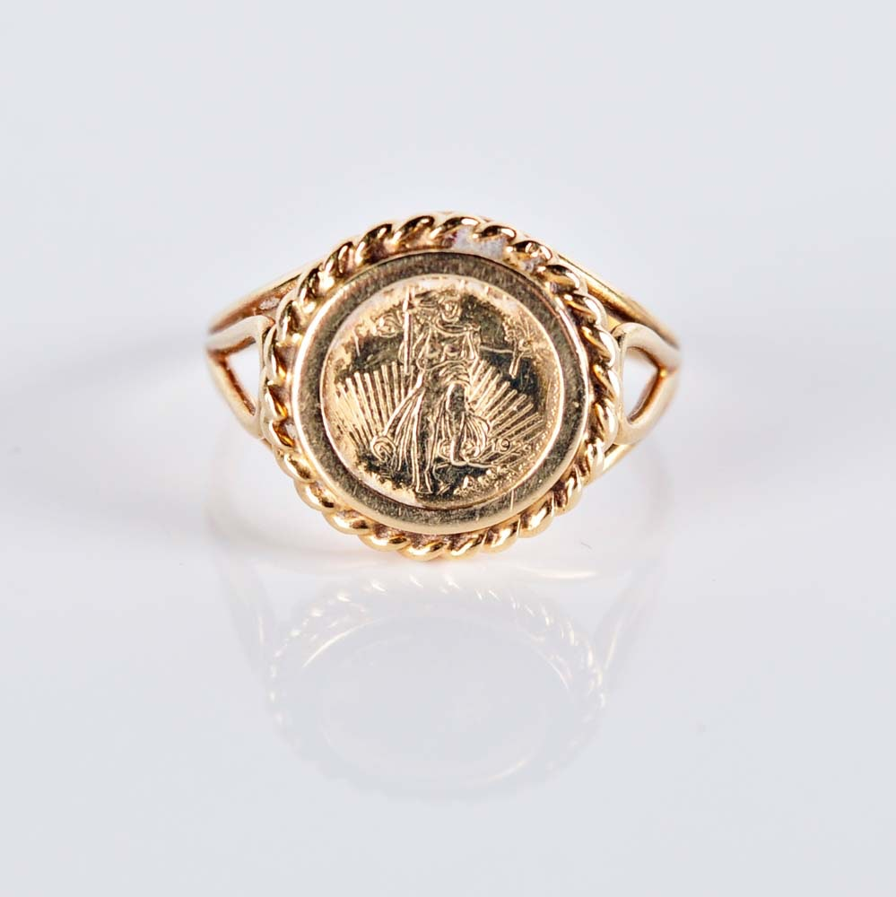 14K Liberty Coin Replica Ring