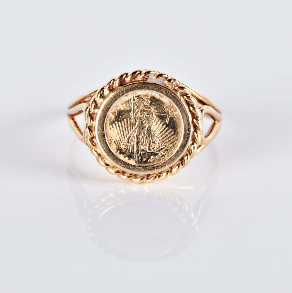 14K Liberty Coin Replica Ring