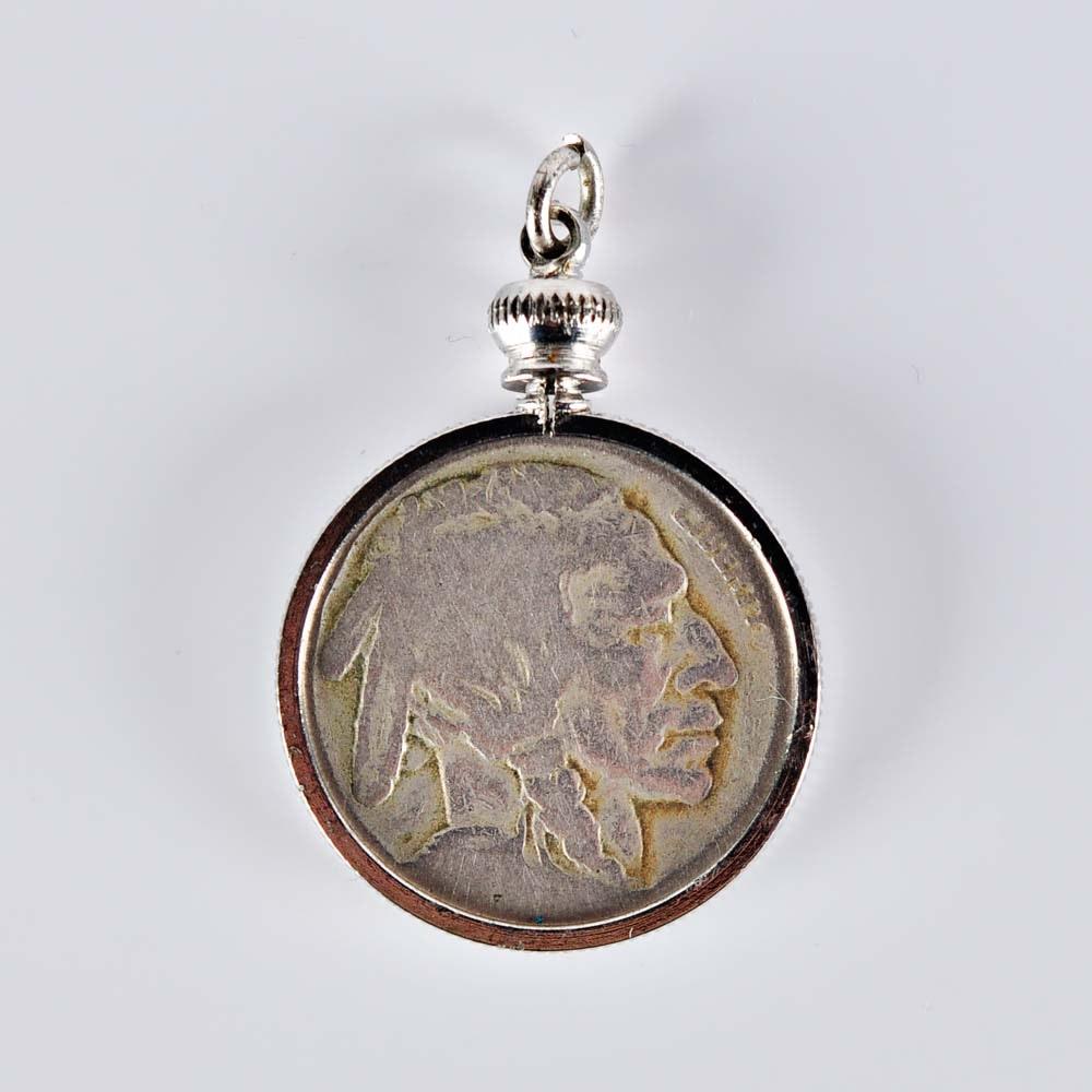 Buffalo Nickel Pendant in Silver-Tone Bezel