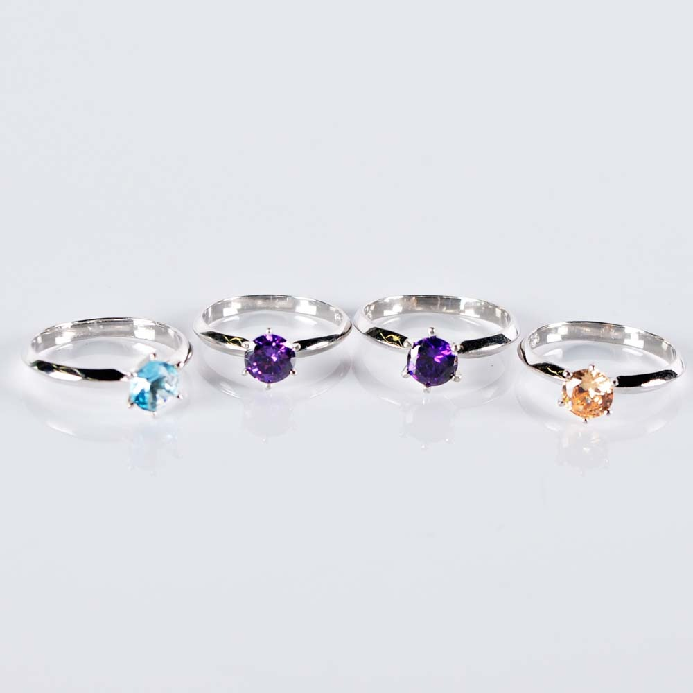 Sterling Silver Simulated Stone Rings