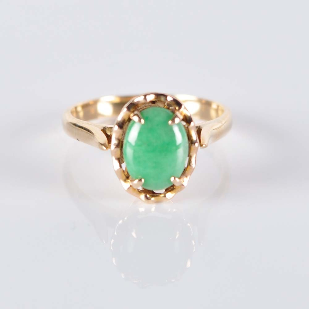 14K Green Quartz Ring