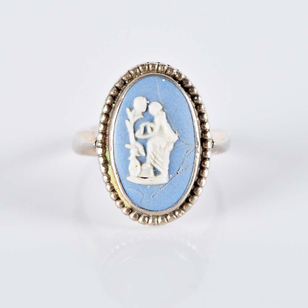 Sterling Silver Wedgwood Jasperware Ring