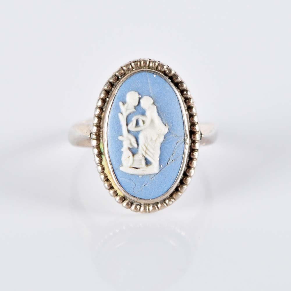 Sterling Silver Wedgwood Jasperware Ring