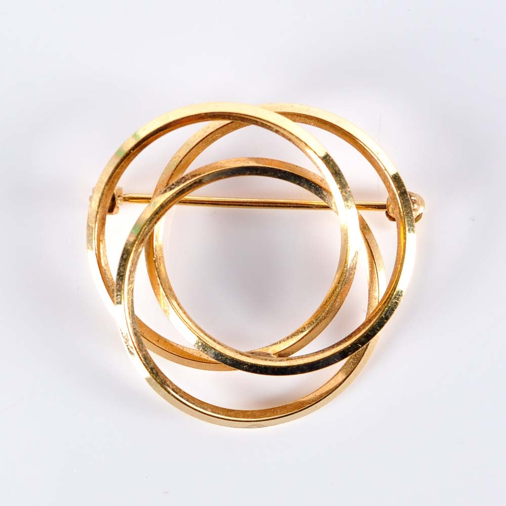 14K Three Circle Brooch