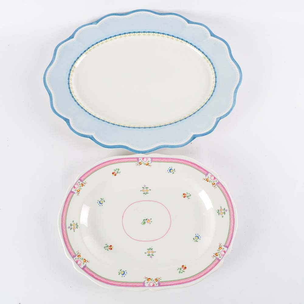 "Laura Ashley ""Alice"" and Lenox ""Provencal Sky"" Platters"