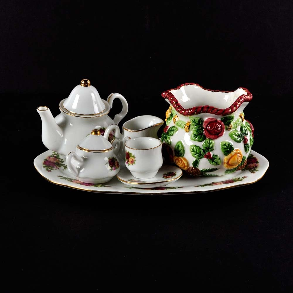 "Royal Albert ""Old Country Roses"" MIniature Tea Set and Vase"