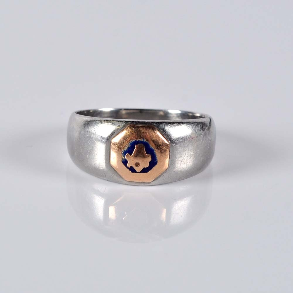 10K White Gold Masonic Ring