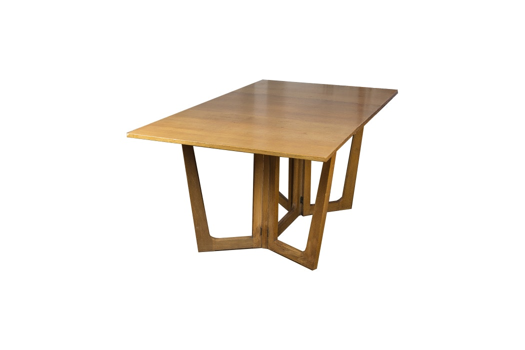 Modern Style Drop Leaf Walnut Dining Table