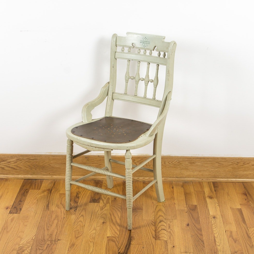 Light Green Painted Wood Side Chair
