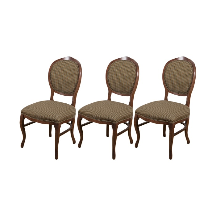 Three Balloon Back Upholstered Dining Chairs