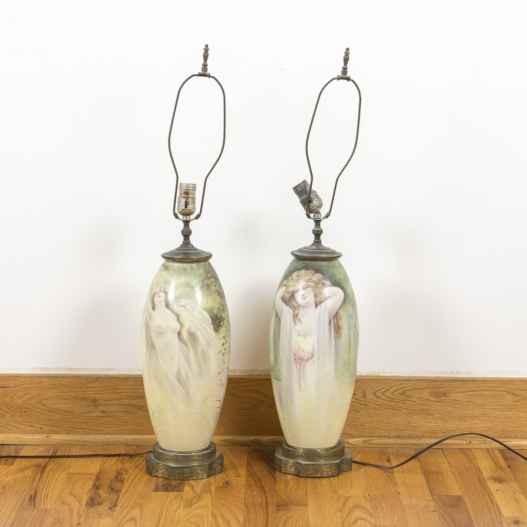 Hand Painted Porcelain Table Lamps Signed A. Heinrich