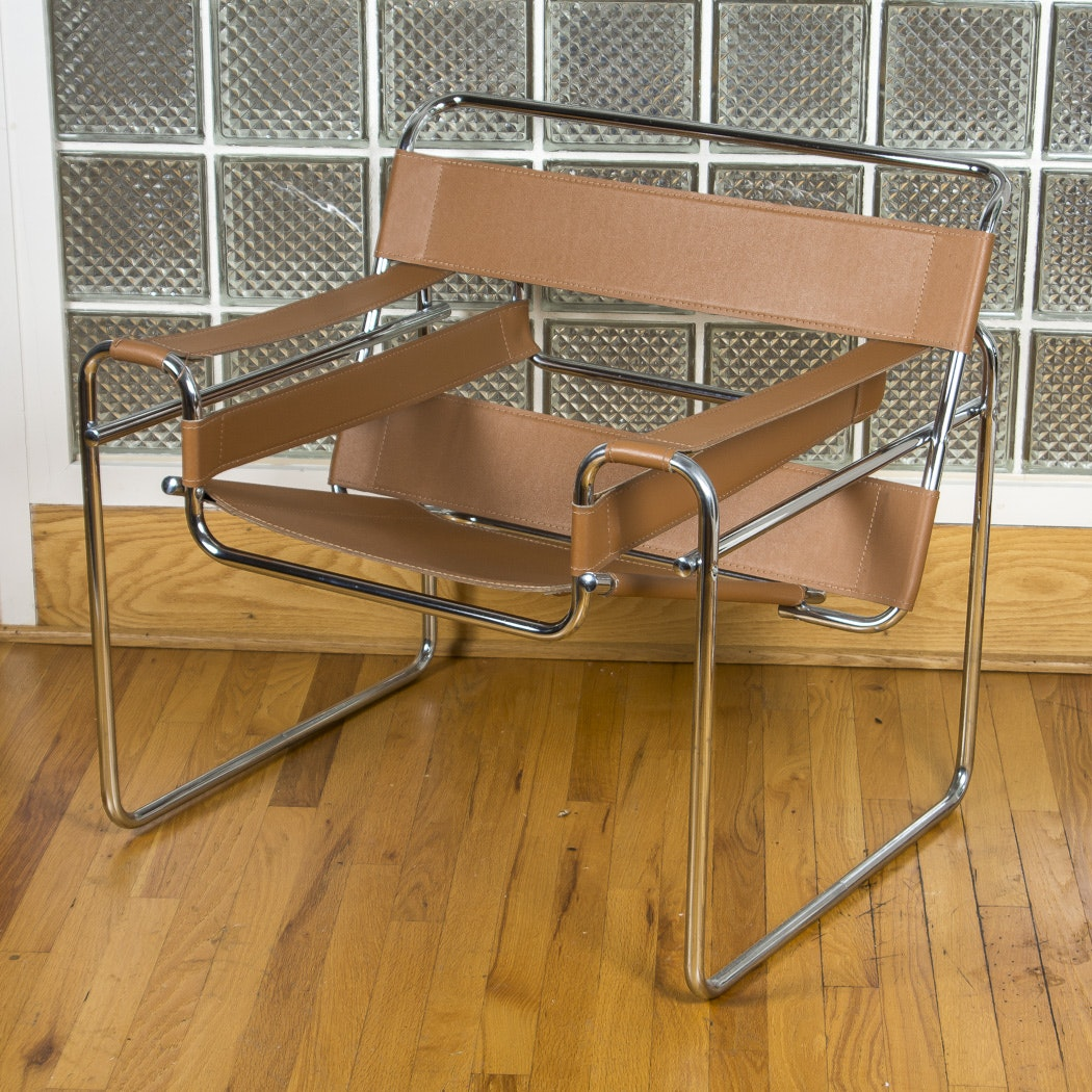 "Bauhaus ""Wassily"" Steel And Leather Armchair After Marcel Breuer"