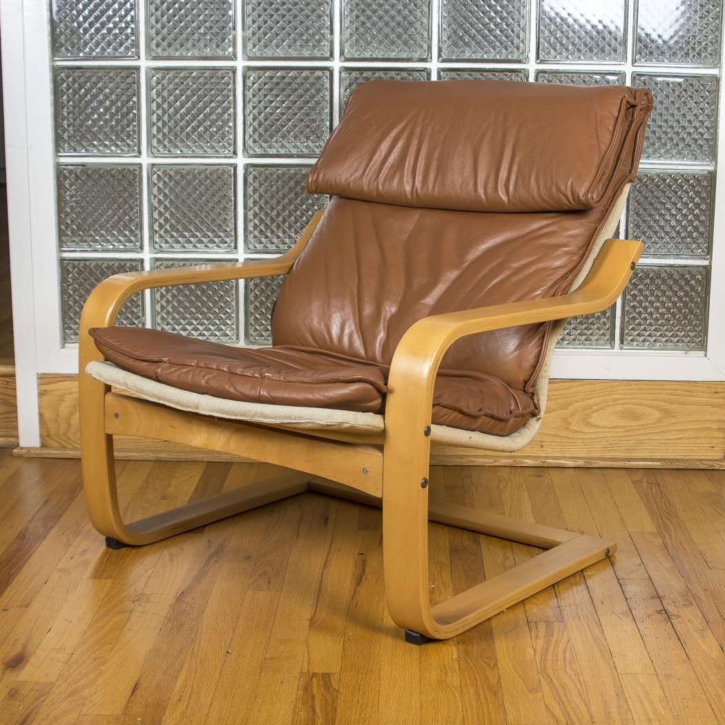 Cantilevered Beech Bentwood Armchair with Leather Cover