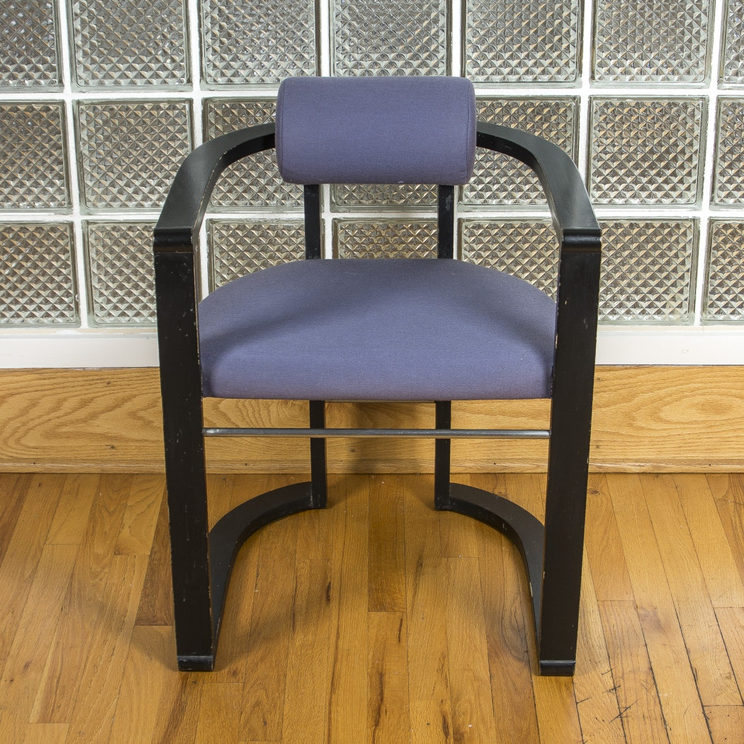 Modern Style Black Painted Wood Armchair With Purple Upholstery