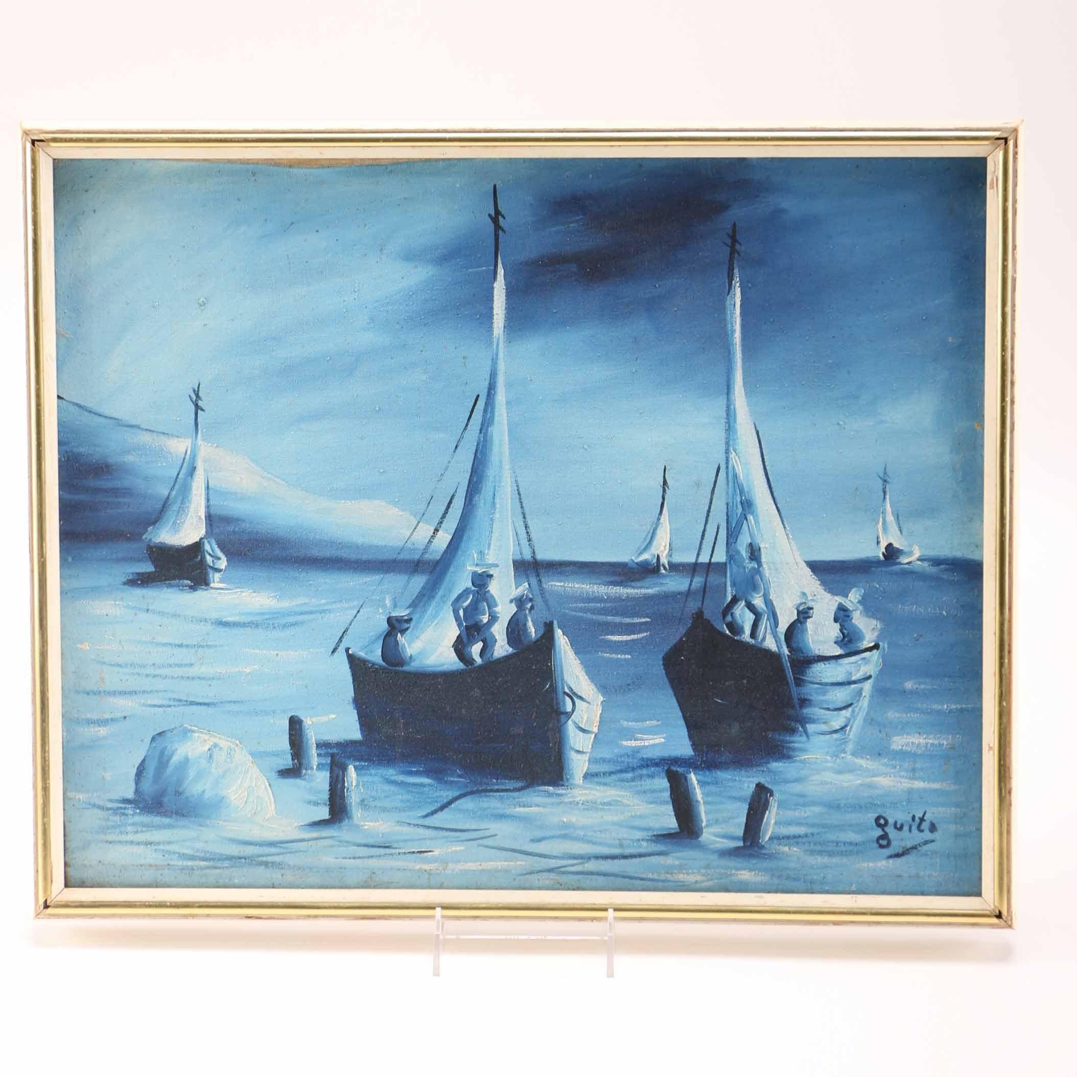 Quito Signed Original Painting of Sailboats