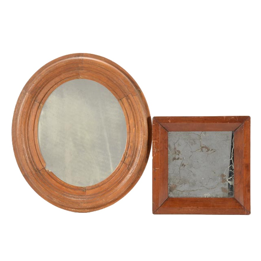 Pair Of Small Vintage Mirrors In Wooden Frames