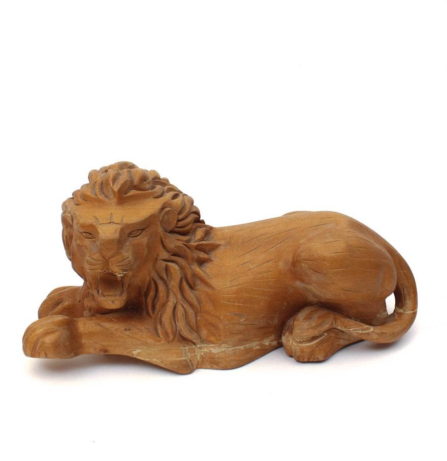 Vintage arthur court carved wood lion ebth