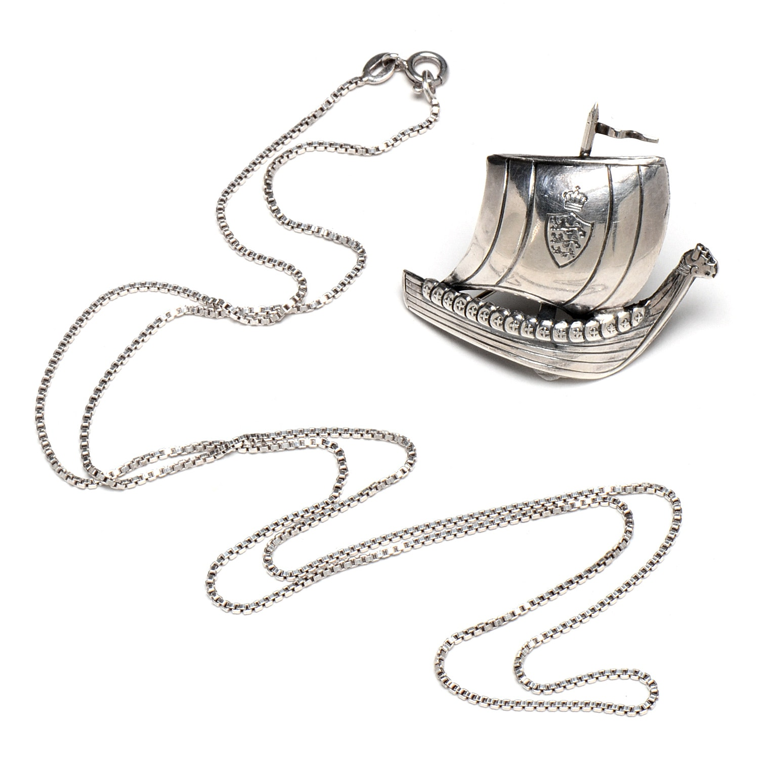 Sterling Silver Chain Necklace and Ship Pendant