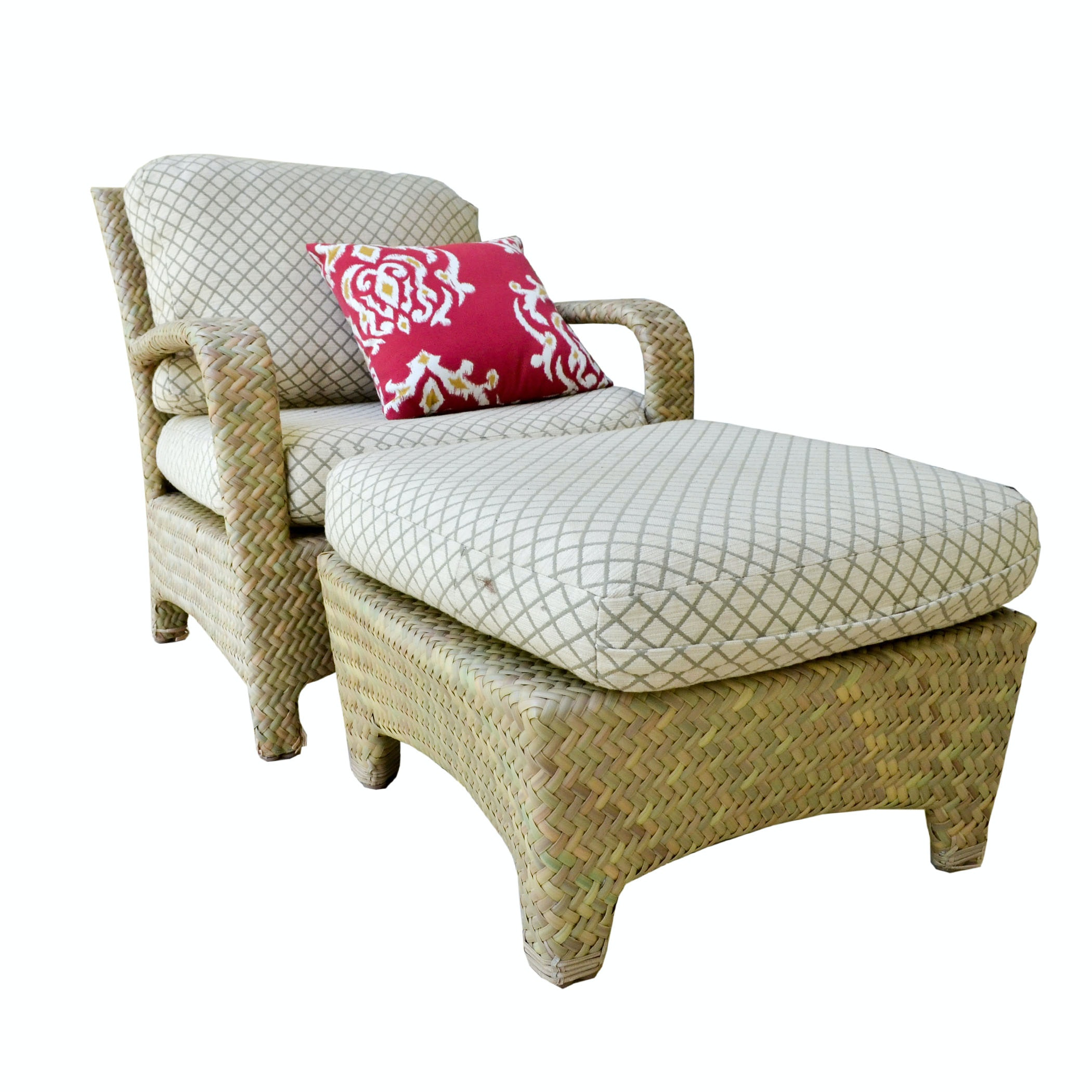 Brown Jordan Rattan Patio Chair with Ottoman EBTH