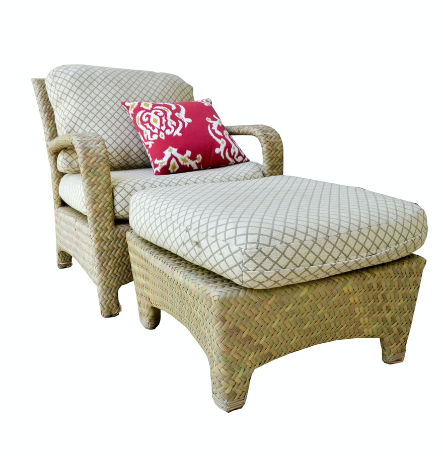 Brown jordan rattan patio chair with ottoman ebth for Brown jordan lawn furniture