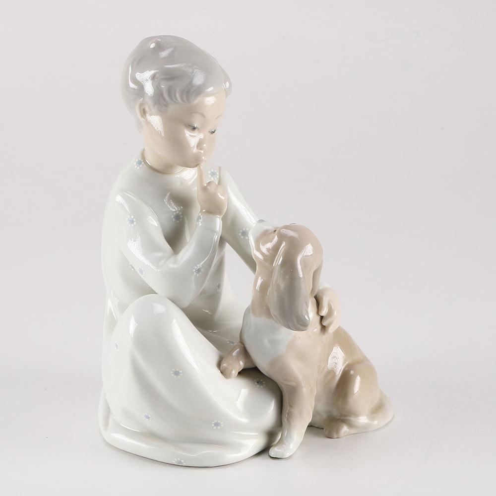 """Lladró """"Boy with Dog"""" Porcelain Figure"""