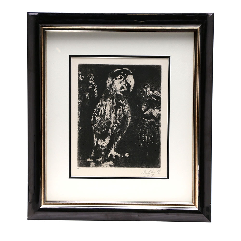 """Marc Chagall Etching """"The Two Parrots, The King, and The Son"""""""