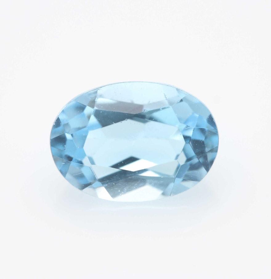 Blue Topaz Stone : Oval blue topaz stone ebth