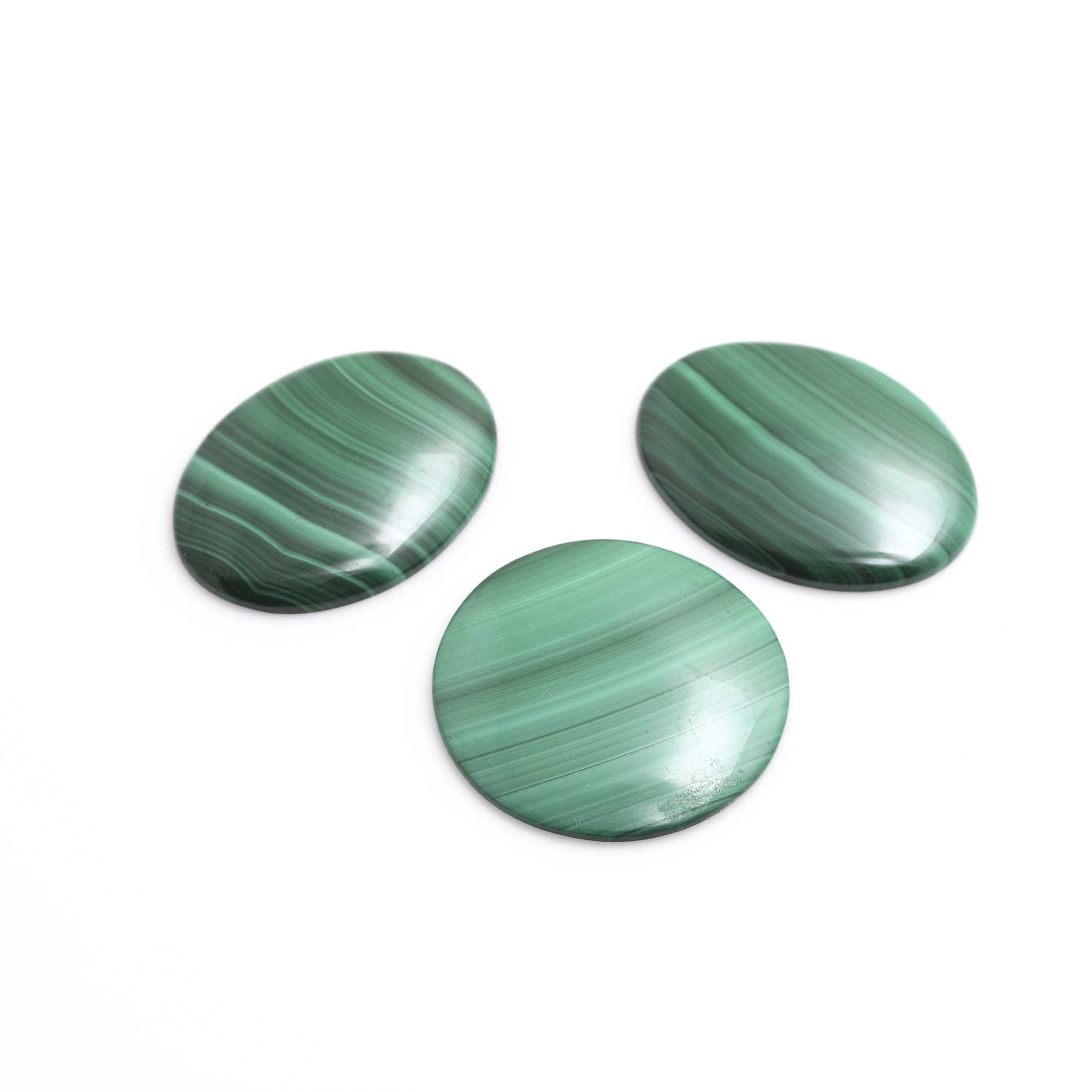 Loose Oval and Round Malachite Gemstones